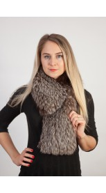 Silver fox fur scarf-collar